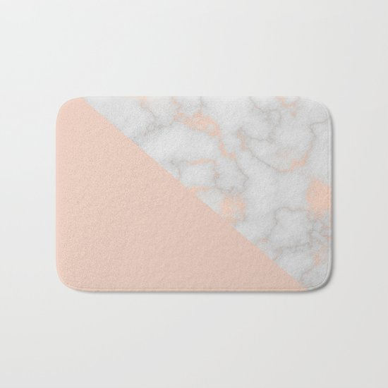 Rose gold marble and soft blush pink Bath Mat