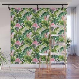Flamingo Tropical, Colorful Tropical Jungle Monstera Painting, Watercolor Birds Banana Leaves Wall Mural