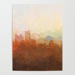 Detroit Michigan Skyline - In the Clouds Poster