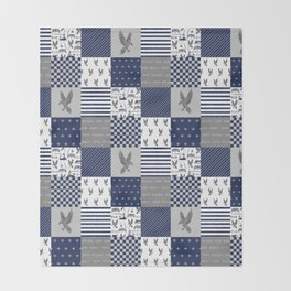 Raven House cheater quilt patchwork wizarding witches and wizards Throw Blanket