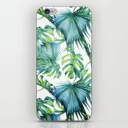 Blue Jungle Leaves, Monstera, Palm #society6 iPhone Skin