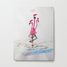 Warm Flamingo Holiday Wishes Metal Print