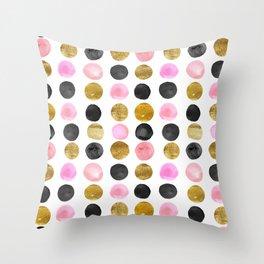 Chic Painted Circle Pattern - Black, Gold, Pink Throw Pillow