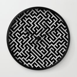 Maze -Black and Silver- Wall Clock
