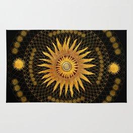"""Black & Gold Vault Mandala"" Rug"