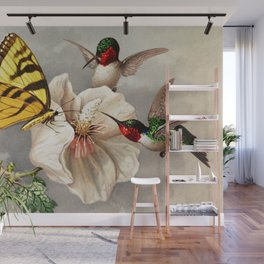 Ruby-throated Hummingbirds & Butterfly Portrait Wall Mural