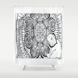 Polar Bear Mandala by Lady Lorelie Shower Curtain