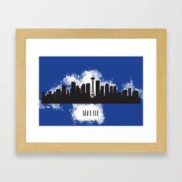 Seattle skyline silhouette Framed Art Print