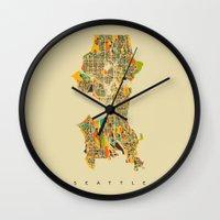 seattle Wall Clocks featuring Seattle by Nicksman
