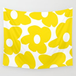 Large Yellow Retro Flowers on White Background #decor #society6 #buyart Wall Tapestry