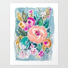 PEACH SPIN FLORAL Art Print