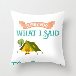 Camping Campers Tent tree Fire Mountain Hunt Gift  Throw Pillow