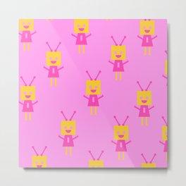 Happiest Little Robot (pink) Metal Print