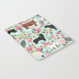 Farm animal sanctuary pig chicken cows horses sheep floral pattern gifts Notebook