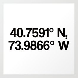 Coordinates of the Richard Rogers Theater - Home of Hamilton: The American Musical Art Print