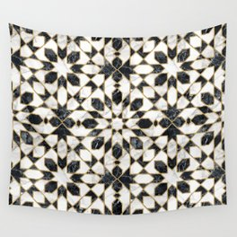 Black and white marble Moroccan mosaic Wall Tapestry