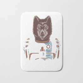 Awesome Wolf Astronaut Outer Space Nerdy Rocket Science Bath Mat
