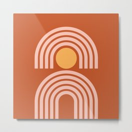 Geometric Lines in Rose Gold Terracotta (Sun and Rainbow Abstract) Metal Print