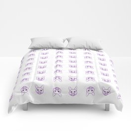 Cute cats pattern in pink pencil on white Comforters