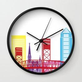 Jacksonville skyline pop Wall Clock