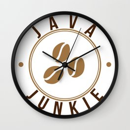 Java Junkie Fictitious Logo Brand Coffee Wall Clock
