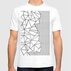 Abstraction Outline Grid on Side White White Mens Fitted Tee SMALL