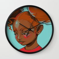 child Wall Clocks featuring child by keiadnae