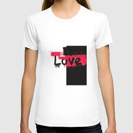 Black and red white pattern Love . T-shirt