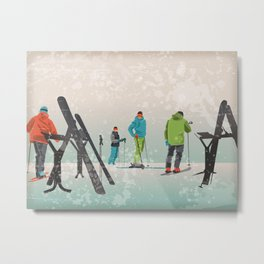 Skiers Summit Metal Print