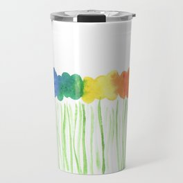 Rainbow Watercolor Flowers Abstract Travel Mug