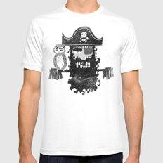 Trendy Pirate  MEDIUM White Mens Fitted Tee