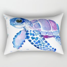 Blue Purple Sea Turtle, Children artwork Rectangular Pillow