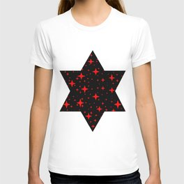 Bright Red Stars in Space , Cristmas Stars T-shirt