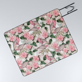 Vintage & Shabby Chic - Pink Tropical Birds And Flowers Picnic Blanket