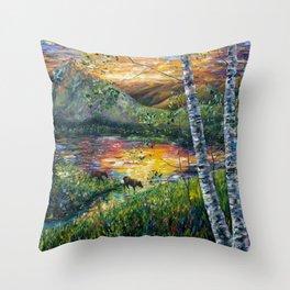 Sleeping Meadow (palette knife) Throw Pillow