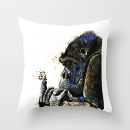 Gorilla - Gentle Giant - Watercolor Animal Painting Throw Pillow