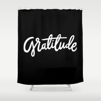 lettering Shower Curtains featuring Gratitude Lettering by studio v28