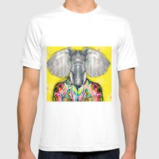 ELEPHAS MEDIUM Mens Fitted Tee White