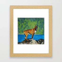Boxer dog Watercolor Digital Art Framed Art Print