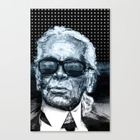 karl lagerfeld Canvas Prints featuring Karl Lagerfeld by michael pfister