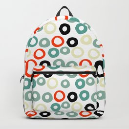 Hand painted pastel red green ivory watercolor polka dots Backpack