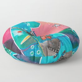 Super Cat - fantastic animal - by LiliFlore Floor Pillow
