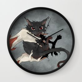 Naughty Vampire Cat Wall Clock