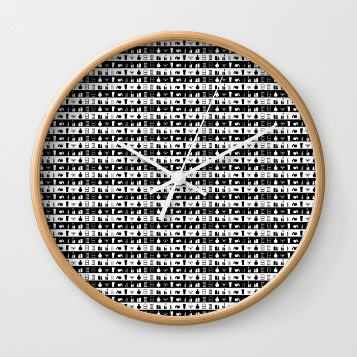 Black And White Womens Girlie Makeup Stripes Wall Clock by podartist | Society6