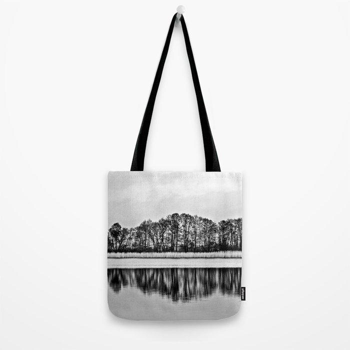 White Symphony of Winter Lake Tote Bag