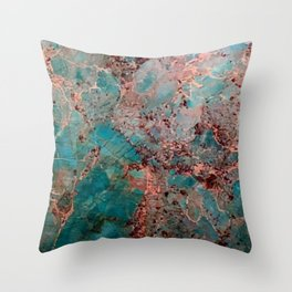 Marble Turquoise Blue Throw Pillow