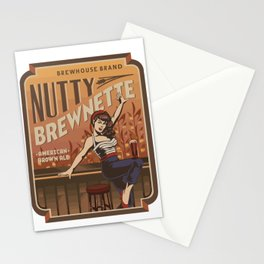 The Nutty Brewnette, American Brown Ale Stationery Cards