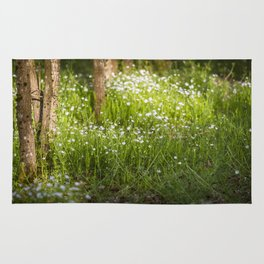 many white flowers in the forest Rug