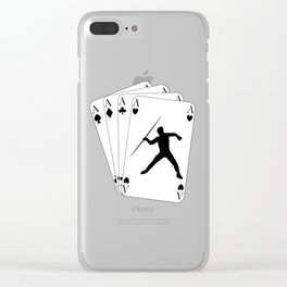 Javelin Throw on Poker Cards 4 Aces for Javelin Thrower Clear iPhone Case