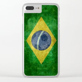 Vintage Brazilian National flag with football (soccer ball) Clear iPhone Case